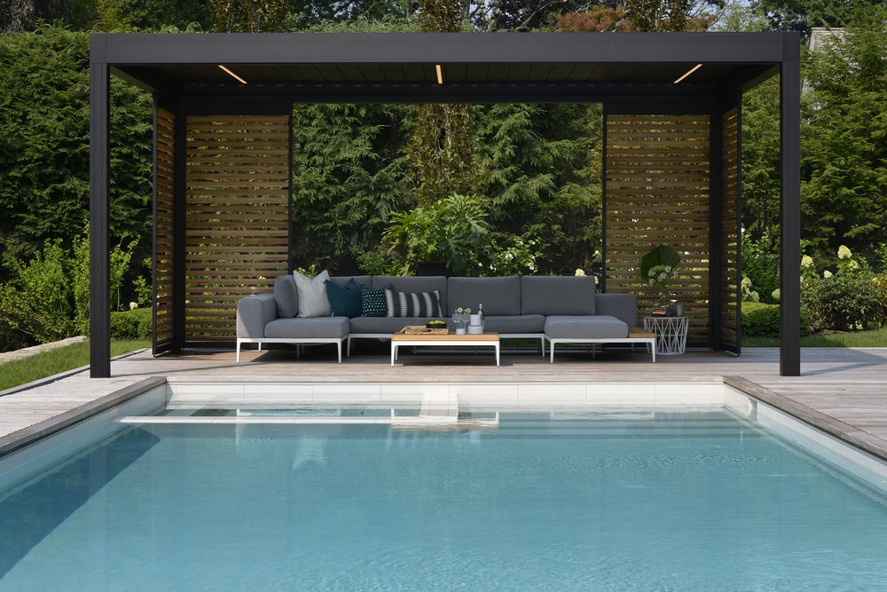 A customized pergola with a pool.
