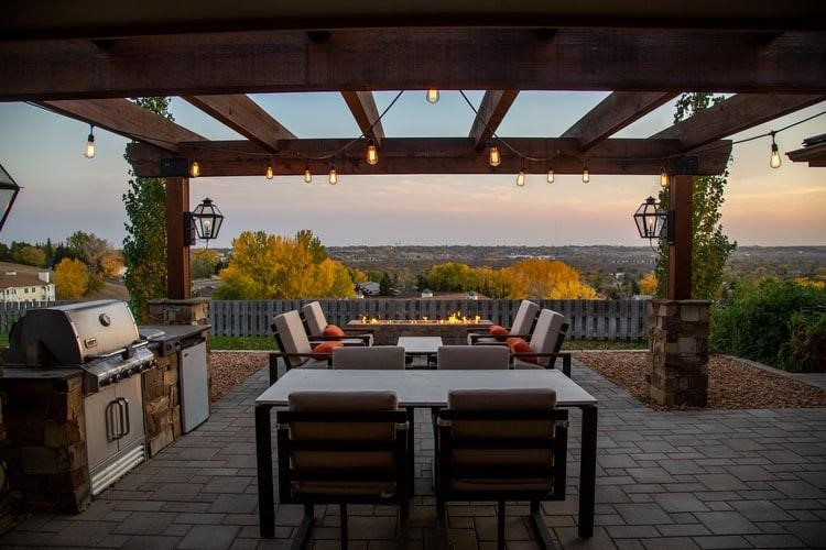 Pergola with fire pit, lights and outdoor kitchen